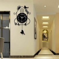 Novo pássaro relógio de parede ferro balanço pendurado pássaro durável metal luminosa relógios de parede grandes artes e ofícios design moderno relógio