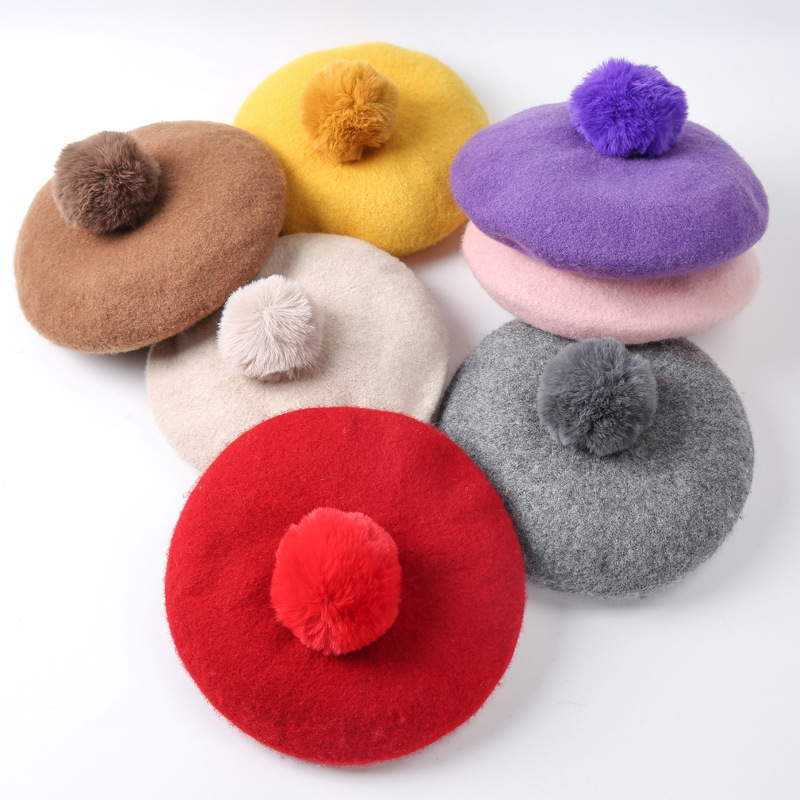 Children Pompoms Beret Hat Solid Color Octagonal Cap Girls Winter Wool Painter Hats For 1-3 Years Kids