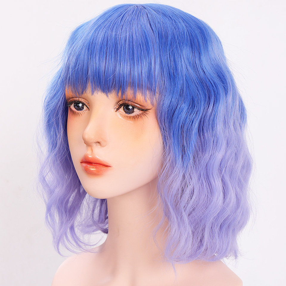 Hbf2bc3ee4dca41a4bd76826e2a54fb3e0 - Short Water Wave Synthetic Hair Mixed Purple and pink Wigs Available Cosplay Wig For Women Heat Resistant Fiber Daily Bob Wig