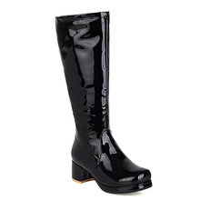 Women's Boots Mirror Knee-Length-Boots Lolita-Style Heel Color-Side Patent Leather Zipper