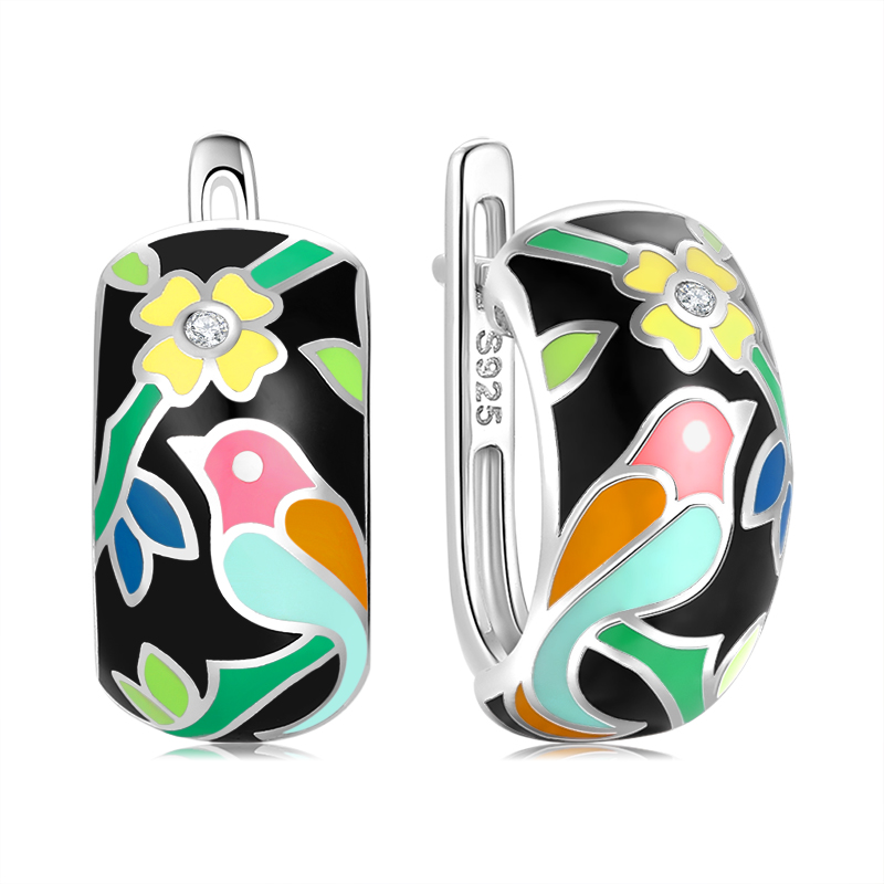 Elegante Klapp-Creolen mit schwarz-buntem Vogel-Blumen-Motiv aus Emaille | 925 Ohrringe 925 Klappcreolen Bunt