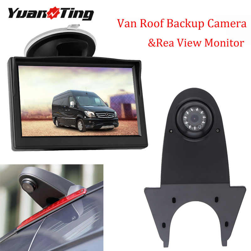 YuanTing Caravan 170 Groothoek Dak Mount Van Backup LED Remlicht Reverse Camera Reverse Parking w/5 Inch rear View Monitor