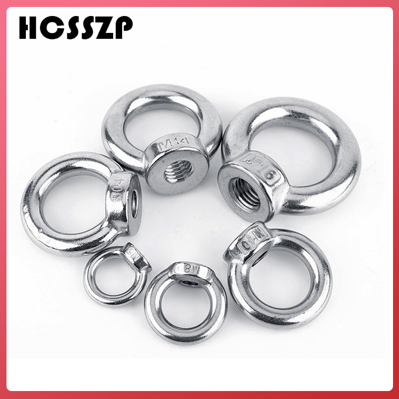 HCSSZP 5 Pieces Lifting Ring Nuts M6/M8/M10/M12/M16/M20 Marine Grade 304 Stainless Steel DIN582 Germany Standard Nut-in Marine Hardware from Automobiles & Motorcycles
