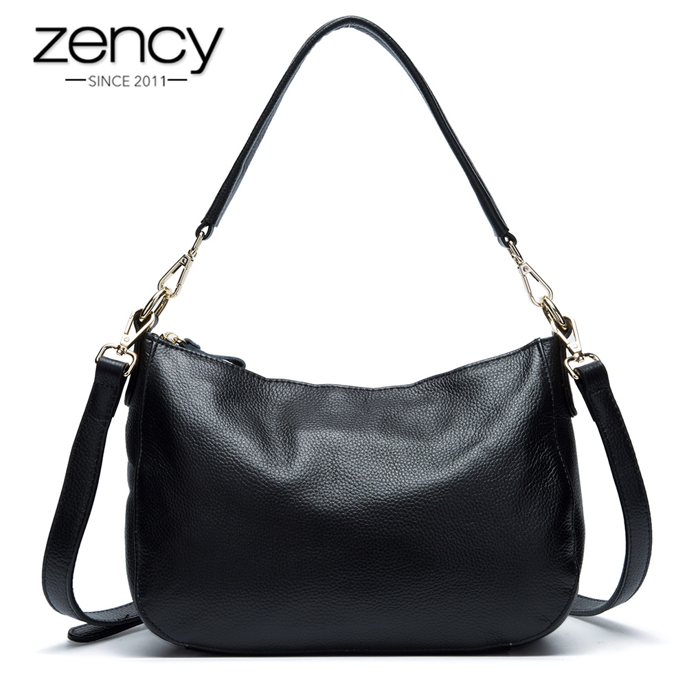 Zency Fashion Black Women Shoulder Bag 100% Genuine Leather Handbag Elegant Lady Crossbody Messenger Purse Small Tote Bags Hobos