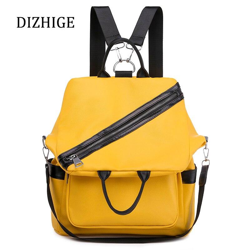 Designer Multifunctional Backpacks Women PU Leather Shoulder Bag Yellow Patchwork School Bags For Teenage Girls Mochila Feminina