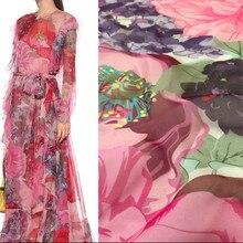 Italiano vo marca 100% poliéster impresso estiramento cetim tecido vestuário moda chiffon tecidos por metro para vestido de costura
