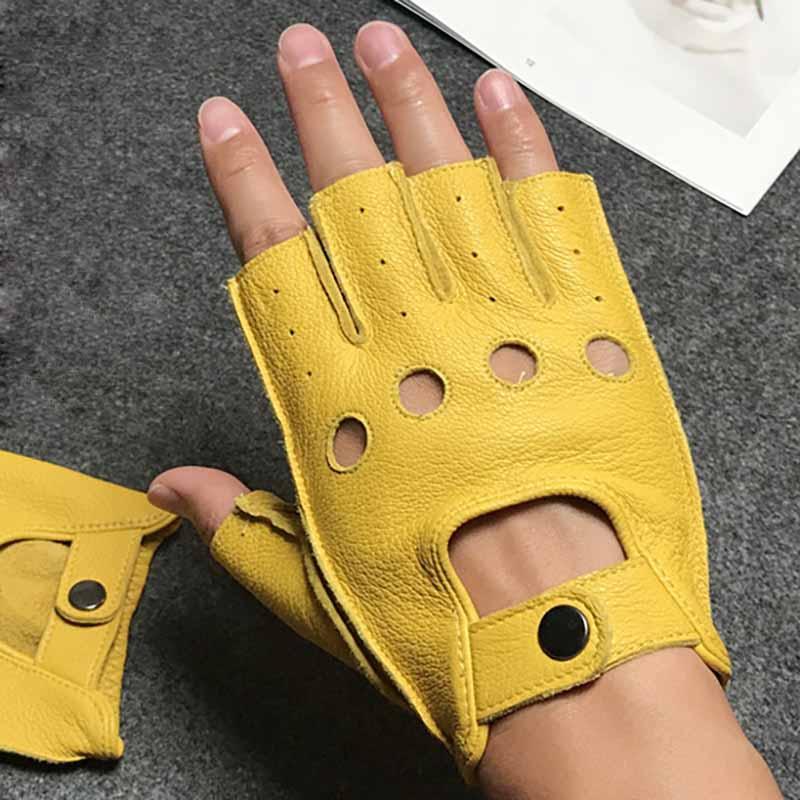Men Gloves Fingerless Leather Gloves Gym Driver Tactical Military Fitness Motorcycle Half Finger Gloves Black Male Non-Slip