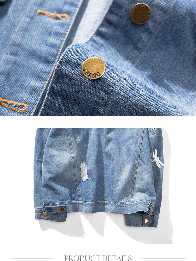 Embroidery Pattern Lapel Loose Denim Jacket 6