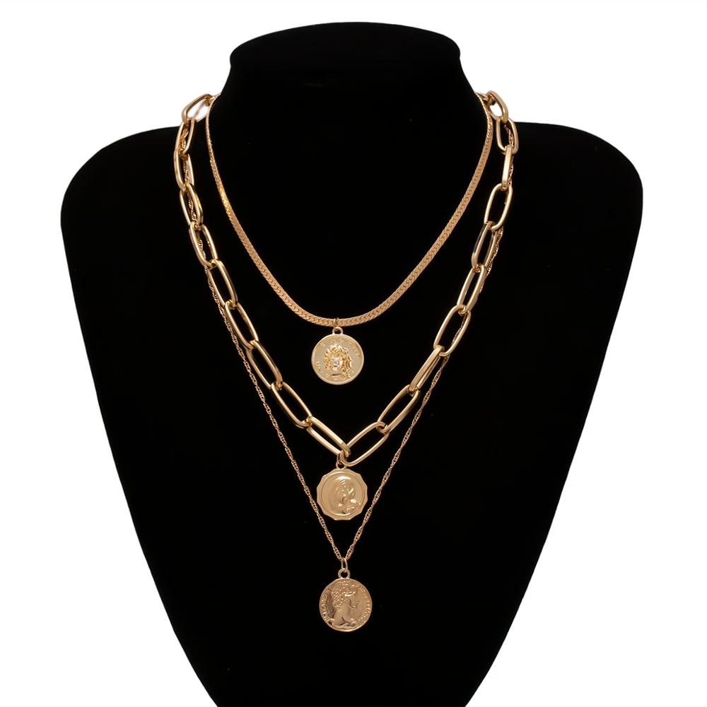 IngeSight.Z Punk Multi Layer Carved Coin Choker Necklace Collar Statement Gold Color Cuban Thick Pendant Necklaces Women Jewelry