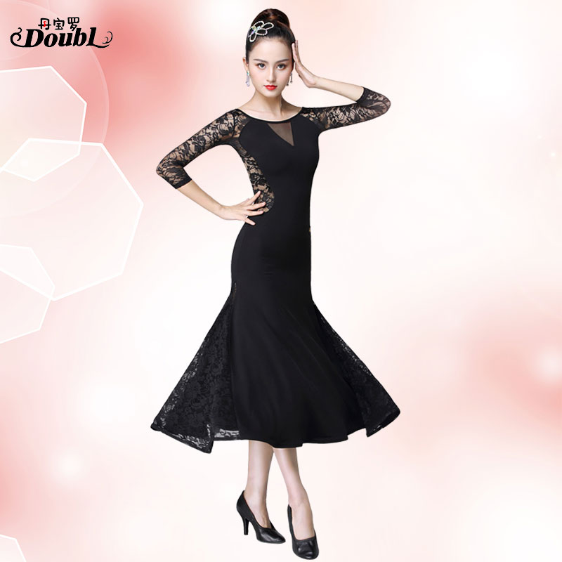 DOUBL Modern Dress Lady Ballroom Dance Half Sleeve Long Wear Slim Competition Waltz Performance National Standad Outfits Costume