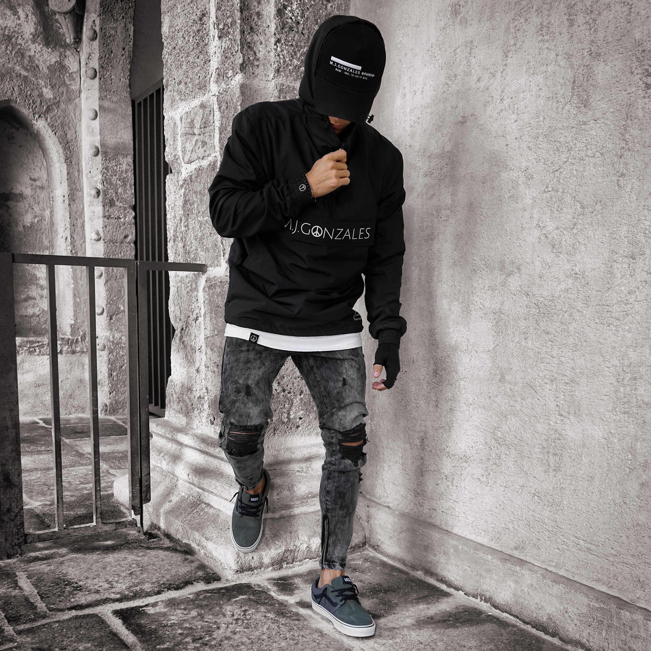 Mannen Hot nieuwe jeans geript in de knie rits hot stijl denim broek jogger hip hop print jeans