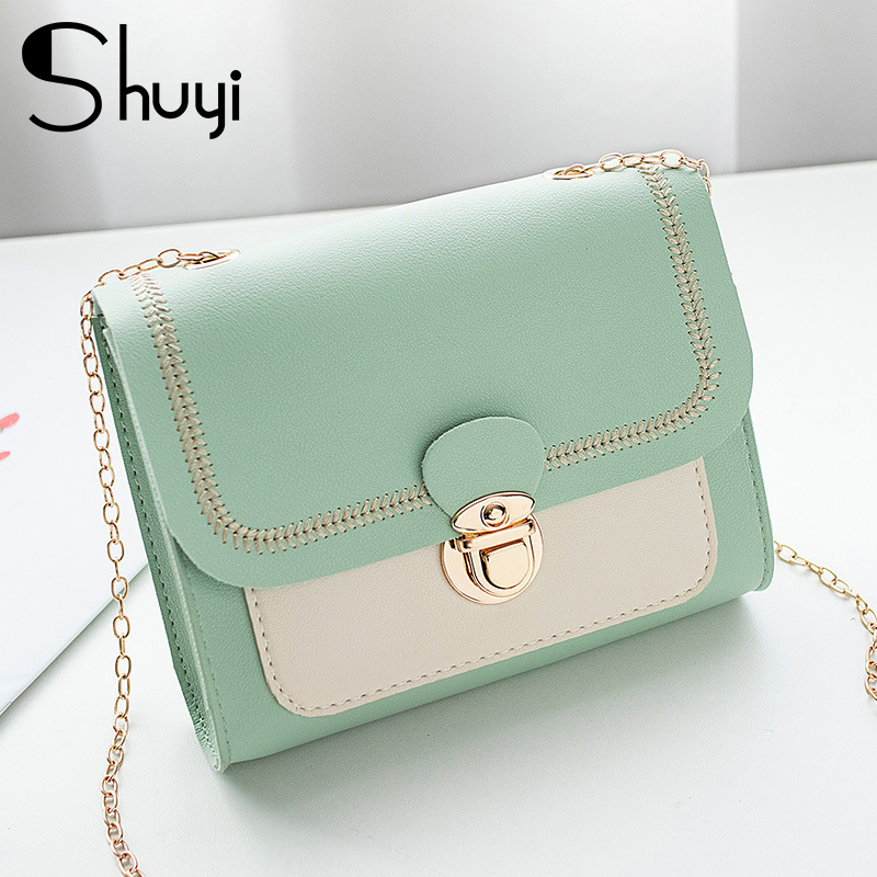 Stitching Women's Summer Shoulder Bag Chain PU Leather Ladies Messenger Bag Female Small Square Bag Clutch Bags 2020 Handbags