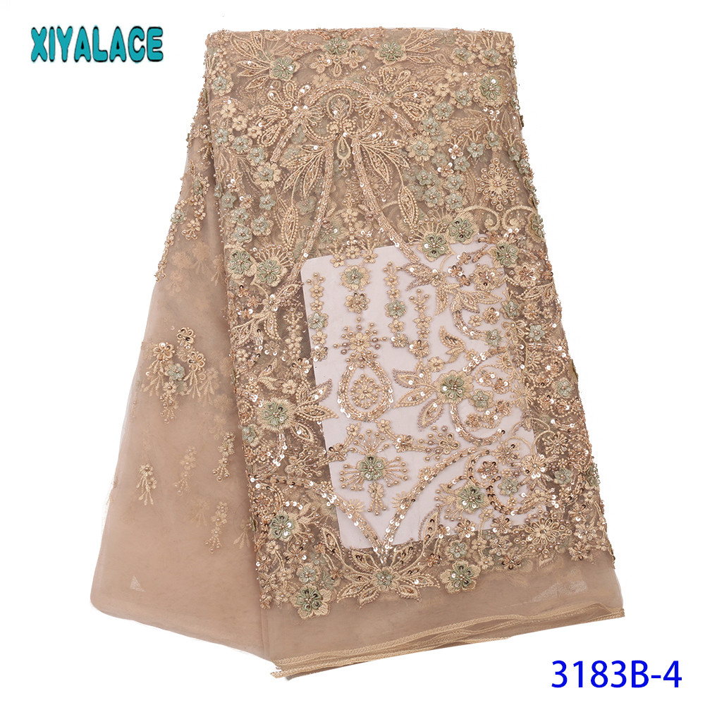 XIYALACE  Luxury Handmade Beads Lace 2020 Latest Embroidery African French Tulle Lace With Beads For Wedding KS3183B
