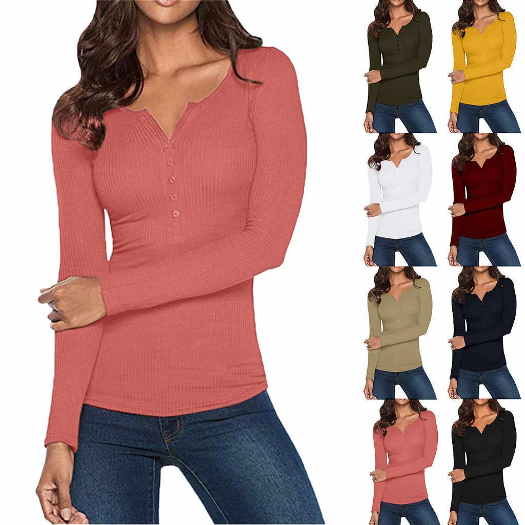 Frauen T-shirt Casual Stil Tops herbst und winter langarm T shirt Feste Taste Unten Grundlegende V-ausschnitt Mode Frauen t-shirt