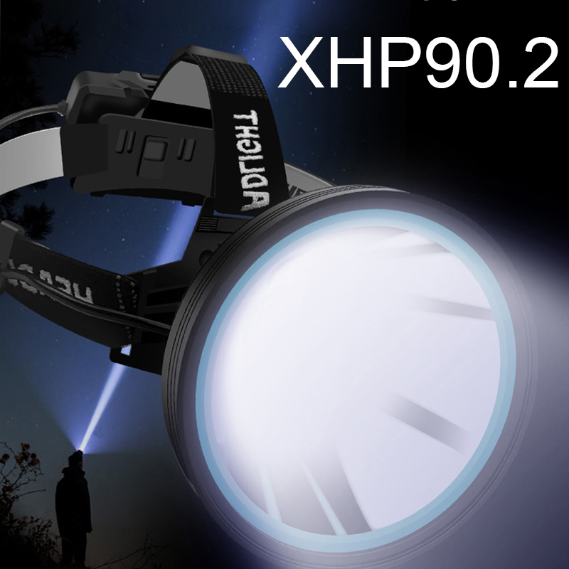 XHP90 2 Led Headlamp White Yellow Color Lighting Head Lamp 3 Modes Flashlight Torch 32W Bulbs 3  18650 Battery Best for Camping