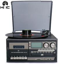 3 Speed Bluetooth Vinyl Record Player Vintage Turntable CD&Cassette Player AM/FM Radio USB Recorder Aux in RCA Line out