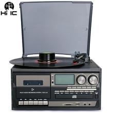Velocidad 3. Bluetooth vinilo tocadiscos Vintage tocadiscos CD y reproductor de Cassette AM/FM Radio grabadora USB Aux-en línea RCA-