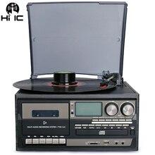 3 속도 블루투스 비닐 레코드 플레이어 빈티지 턴테이블 cd 및 카세트 플레이어 am/fm 라디오 usb 레코더 aux in rca 라인 아웃