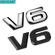 DSYCAR 1Pcs Mode 3D Metall V6 Motor Display Auto Aufkleber Emblem Abzeichen für Autos Dekorative Zubehör Neue