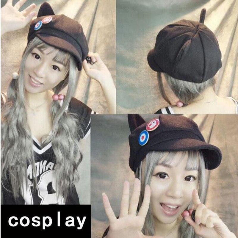 high quality Anime Japan Harajuku Evangelion EVA Asuka Langley Soryu Cosplay cat ear hat cap with plates Character costume props(China)