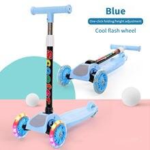 Crianças 3 roda kick scooter com piscando rodas ajustável altura equilíbrio coordenação formação para crianças com idade 2 a 8
