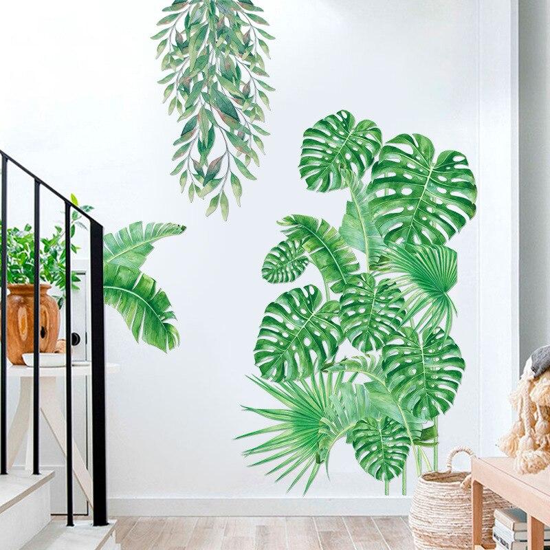 Grande planta tropical adesivo de parede quarto sala estar decoração pvc adesivo mural decoração para casa arte decalques folha verde adesivos
