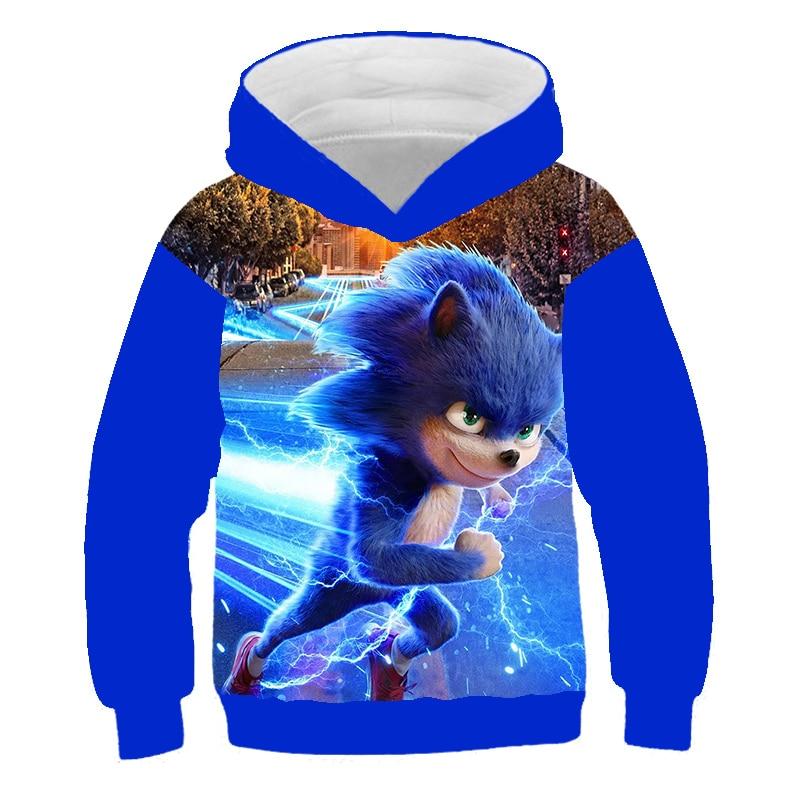 XINYOU 3D Sonic Hedgehog Summer 2021 Baby Bos Hoodies Kids Girls Cartoon Clothes Teens  Harajuku Pullover Coat Sweatshirt Tops 5