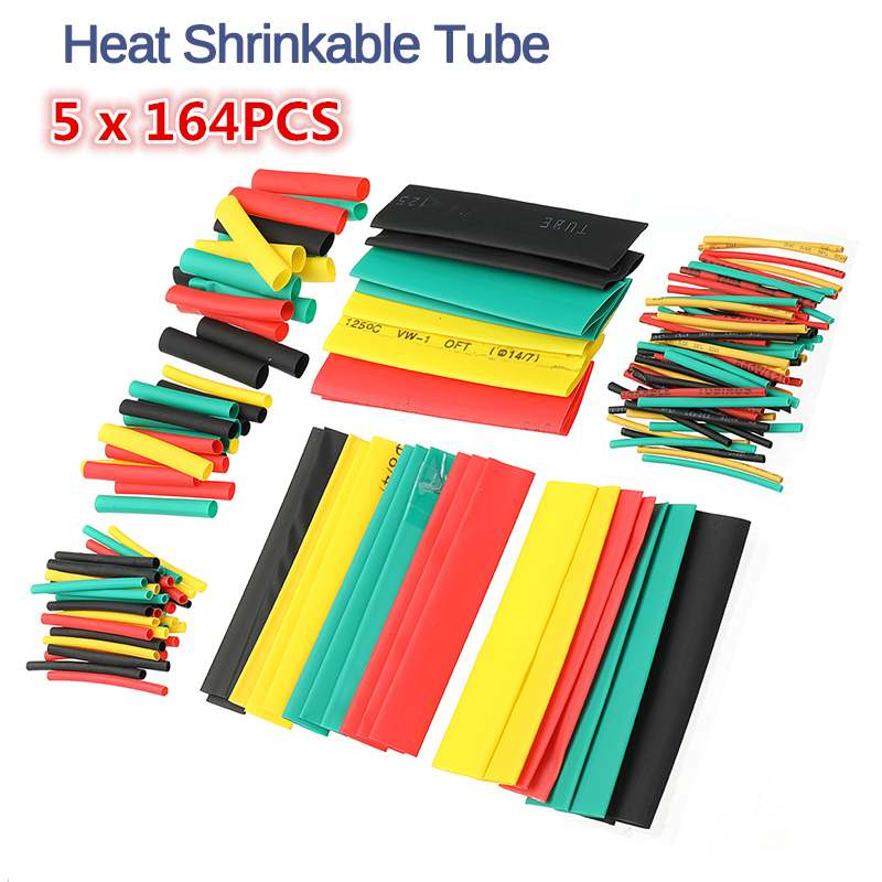 820pcs PE Heat Shrink Tube  Electrical Insulation Cable Tubing Polyolefin Cable Insulated Sleeving Tubing Set Assortment Wrap