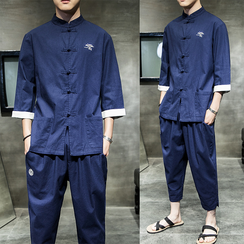 Summer New Style Chinese-style Frog Cotton Linen Three Quarter Sleeve Shirt Men Capri Casual Pants Loose And Plus-sized Set Men
