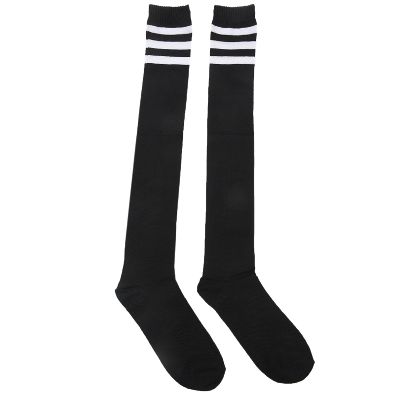 Mens Black White Acrylic Stretchy Cuff Striped Rugby Football Soccer Socks Pair