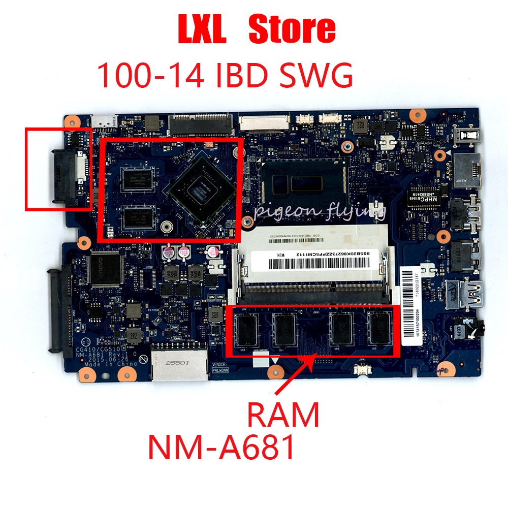 NEW motherboard for lenovo ideapad 100-14 IBD laptop CPU-i3(<font><b>SR27G</b></font>) GPU-GT920M With RAM FRU 5B20L16833 P/N NM-A681 100%test image