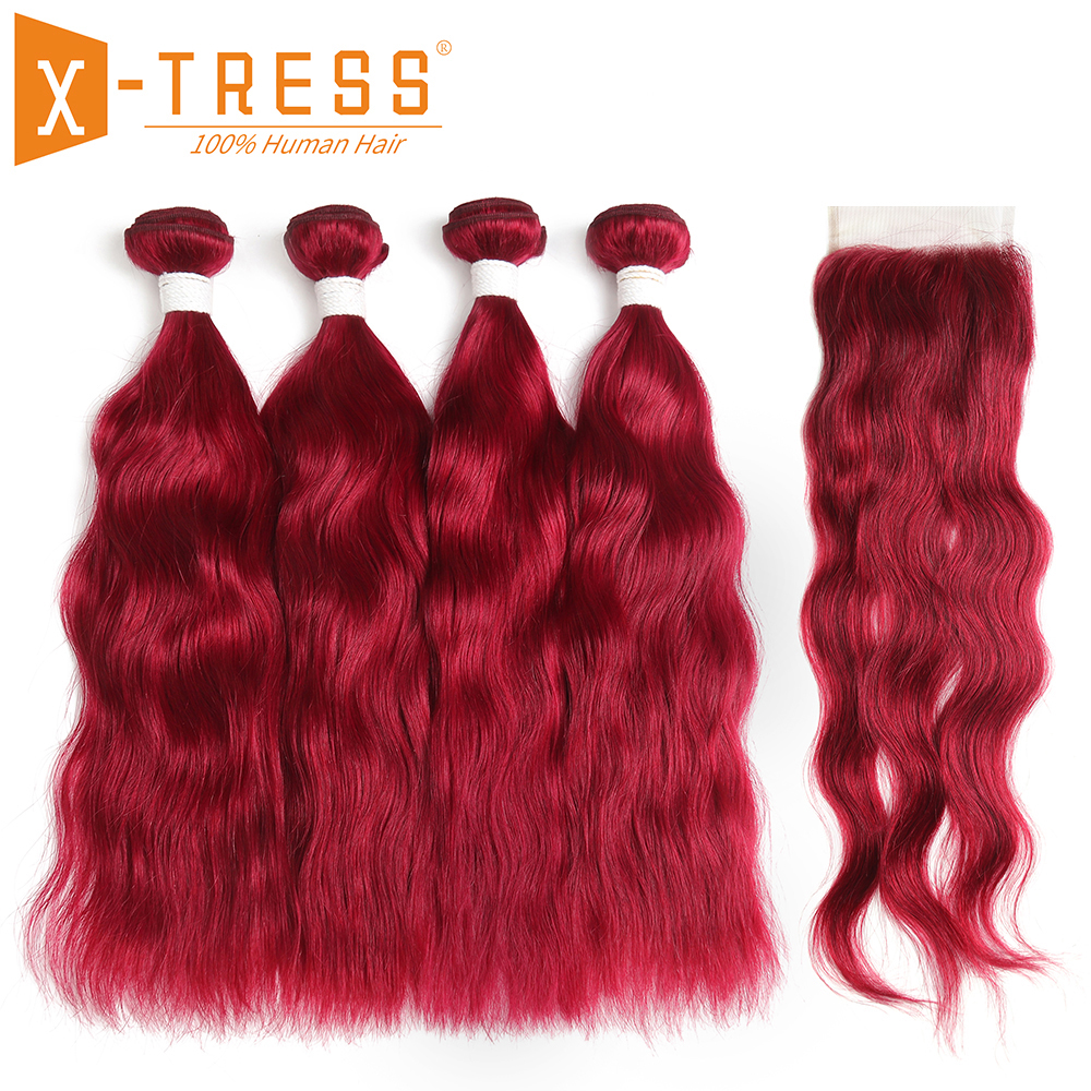 Burgundy Red Color Natural Wave Human Hair Weave Bundles With Lace Closure 4x4 Brazilian Non Remy Hair Weft Extensions X-TRESS