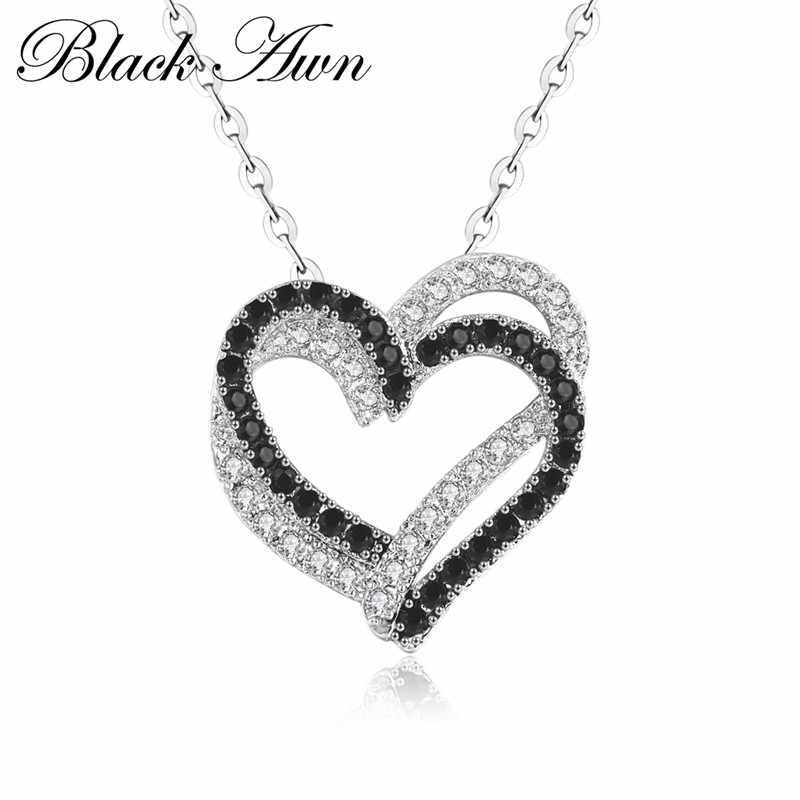 Colar de prata fino genuíno 100% 925 prata esterlina colar feminino jóias coração preto & branco pedra pingentes p107