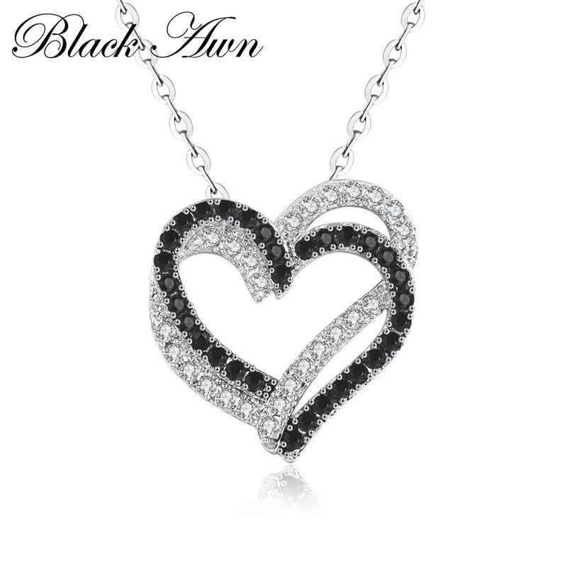 Silver Necklace Fine Genuine 100% 925 Sterling Silver Necklace Women Jewelry Heart Black&White Stone Pendants P107