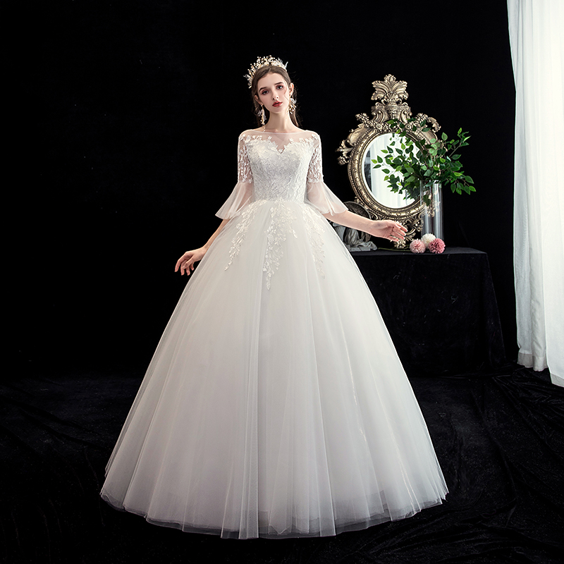 Mrs Win Wedding Dress Elegant Half Flare Sleeve O-neck Lace Up Ball Gown Princess Lace Embroidery Wedding Dresses Custom Size