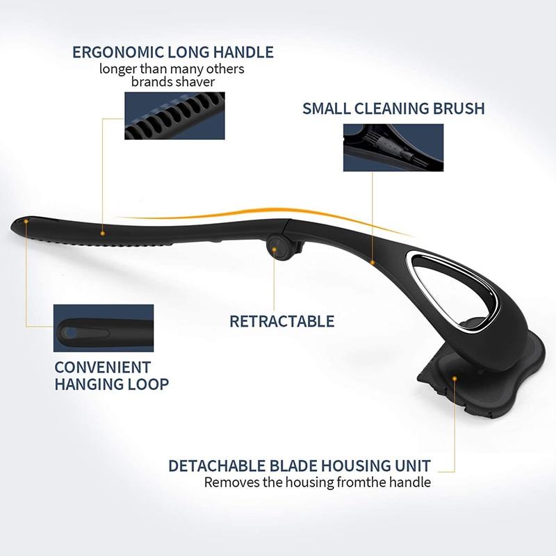 Liberex Back Shaver for Men Folded Razor Dry Wet Shaving Manual Hair Removal 18 Inch Adjustable 6 Blades Body Groomer Trimmer 3