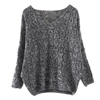 Women's Hollow Out Bat Long Sleeve Loose V Collar Sweater jersey mujer свитер женский new sweater for women 2019 джемпер женский 8