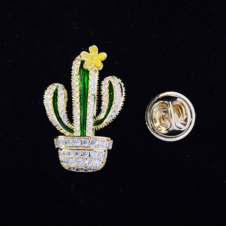 Bad Guy Zircon Brooches for Women's Brooch Pin Fashion Pins Accessories for Clothes Decoration Brooch Pins Metal Cactus Broche-1