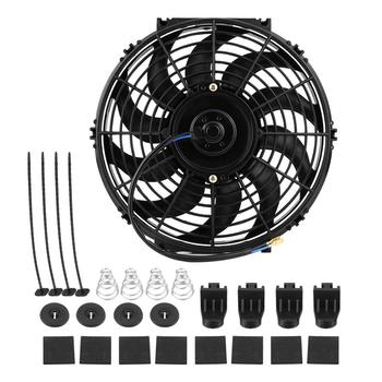 Oversea Car Slim Push Pull Electric Engine Cooling Fan 12V 80W with Mounting Kit 10 blades 12 inch Universal