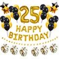 38 шт., 25 фольгированных воздушных шаров, латексные комплекты, 25 с днем рождения, украшения для взрослых, 25 лет, товары для дня рождения, золоты...