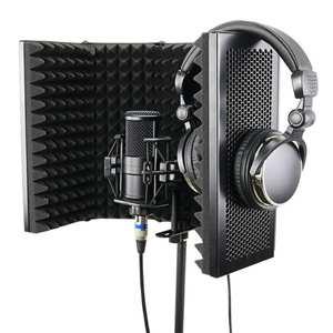 Image 3 - Protector de aislamiento acústico para micrófono plegable, Panel de espuma acústica para grabación en vivo, accesorios para micrófono