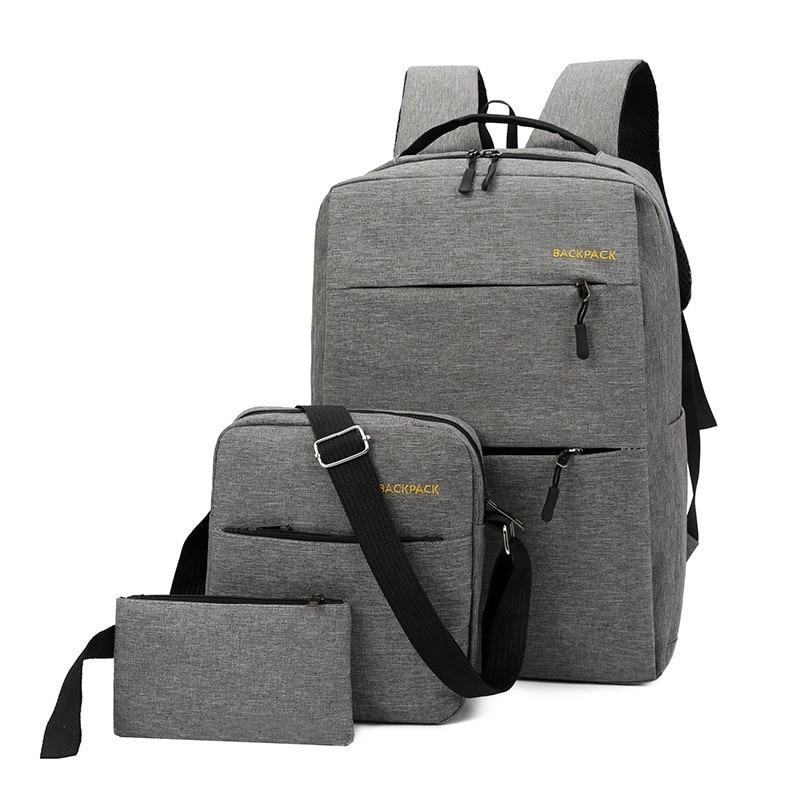 3 Pcs/set Mochila New Backpack Women 15 Inch Men Laptop Backpack USB Charging Travel Bag Shoulder Bag Backpack Mochila Escolar
