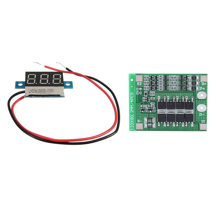 3S 11.1V 12.6V 25A With Balance 18650 Li-Ion Lithium Battery PCB Protection Board With 0.36Inch Digital DC 3-30V Car Voltmeter G