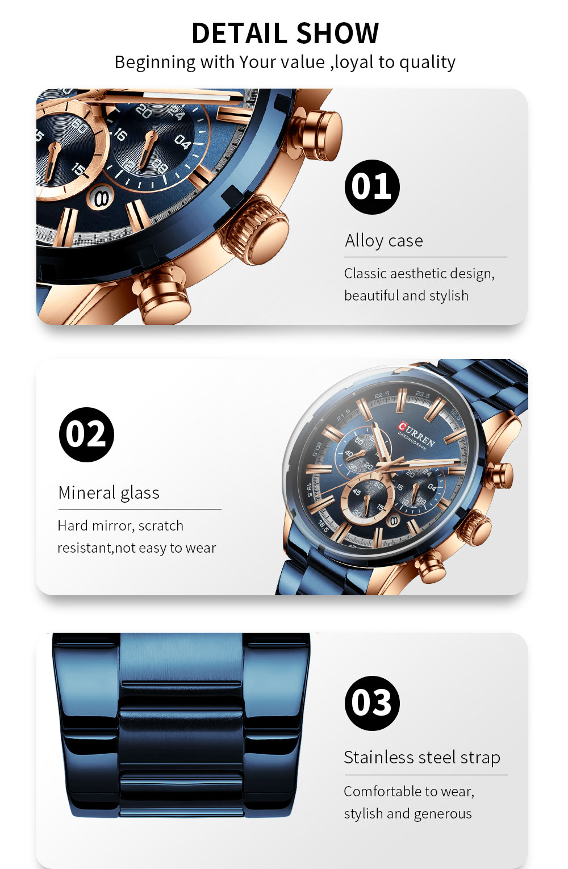 Hbf2ef1f2a9cb486193898639146bc7c0B CURREN New Fashion Mens Watches Quartz Chronograph