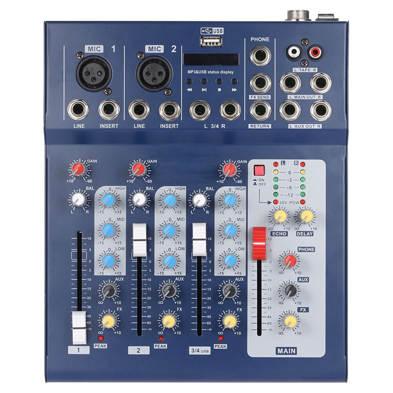 HFES F4 Usb Mixing Console 4 Channel Digital Mic Line Audio Mixer Console With 48V Phantom Power For Recording Dj Stage Eu Plu|Professional  Audio Recording|   - title=