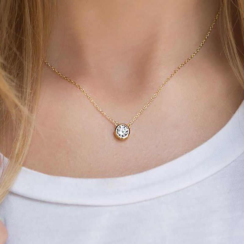 כפול הוגן מבריק תליון שרשראות לנשים קלאסי עגול קריסטל קולר שרשרת עלה זהב מצופה תכשיטים N388