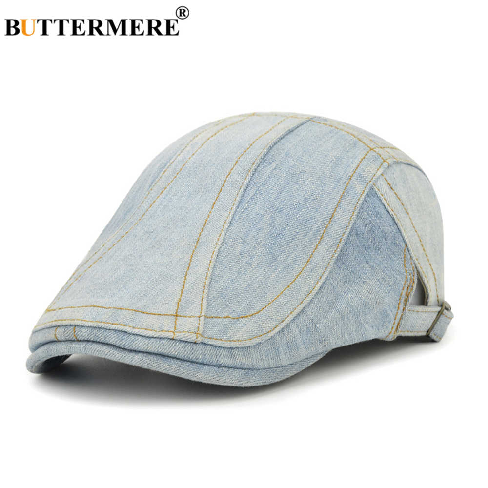 BUTTERMERE ג 'ינס גברים נשים שטוח כובע אור כחול כומתה כובע כותנה מזדמן נהג המוני כובע בציר זכר נקבה מתכוונן קיסוס אירי כובע
