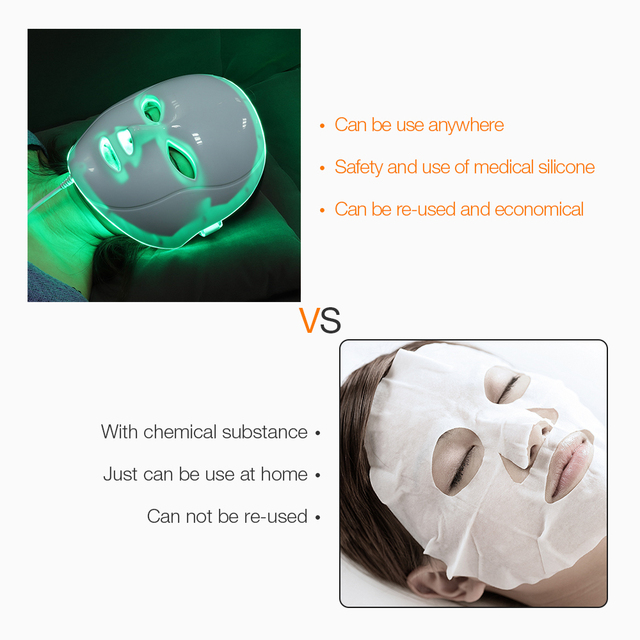 foreverlily Beauty Photon LED Facial Mask Therapy 7 colors Light Skin Care Rejuvenation Wrinkle Acne Removal Face Beauty Spa 3