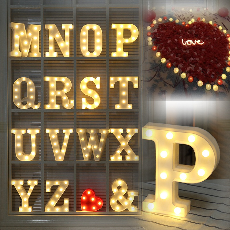 LED English Alphabet Letter Symbol Modeling Lamp Light for Home Room Wedding Birthday Party Decoration Valentine's Day Lights