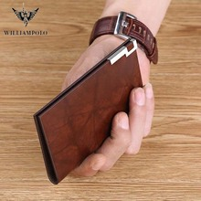 WILLIAMPOLO Men Male cow leather Mini Small Wallets Business mens  Coin Purse Credit Card Holder fashion design luxury Wallets